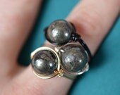 Pyrite Statement Ring - Healing Energy Ring - Wire Wrapped Fool's Gold Ring - Made to Order