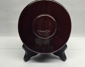 Vintage Dark Brown Crock Lid 3.50 inch round