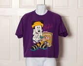 Vintage 90s MICKEY MOUSE Aloha Tshirt Crop Top - Large