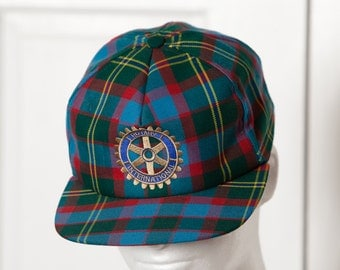 Vintage 80s 90s Trucker Hat - plaid blue red green - ROTARY INTERNATIONAL - adjustable back