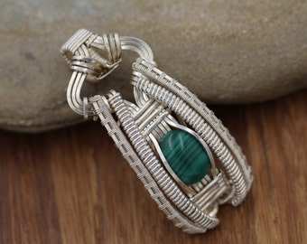 Malachite Wire Wrapped Pendant - Wire Wrapped Pendant - Malachite Pendant - Malachite Necklace - Heady Wire Wrap