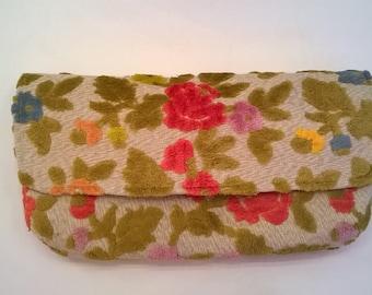 Handcrafted Colorful Floral Clutch  - Chenille Deep Pink, Golden Orange, Yellow, Green - OOAK Flocked Velvet Evening Bag, Clutch, Purse