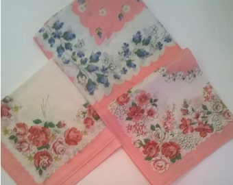 Three Vintage Pink Hankies - Floral Hanky - 3 Cotton Flower Handkerchiefs - Unused with Original Tags