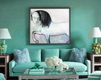 Original oil painting on canvas minimalist style GREY HORSE by Elisaveta Sivas // 39 x 39'