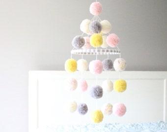 POM POM MOBILE - light peach + cream + grey + yellow + confetti pom pom mobile. sweet pom pom mobile.