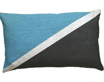 Flag cushion in Blue and charcoal linen cushion cover