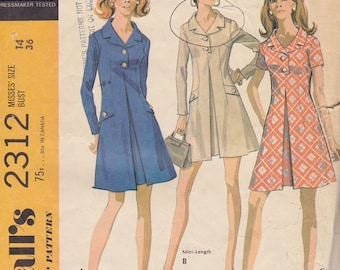 1970 Mod Mini Coatdress Vintage Pattern, McCalls 2312, Notched Collar, Inverted Pleat, Button Trimmed Flaps, Career Gal Groovy Office Attire