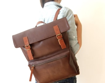 "Leather Backpack in Dark Brown - 15"" Laptop, Gift for Dad, Father's Day Gift, Adjustable Detachable Leather Straps - Zippered Pocket"