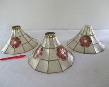 Capiz Shell Lamp Shades, 3 Vintage Cottage Beach Tropical Decor, White, Red Pink Flower Petals, Floral, Delicate Scallop Shells, Destash