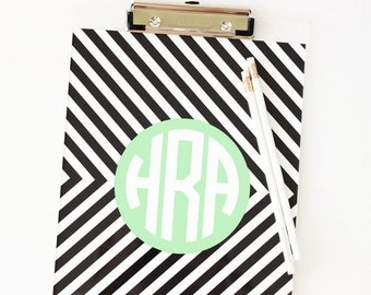 Clipboard Monogram Sorority Gifts Girls Office Supplies Monogrammed School Supplies Acrylic Personalized Clipboard Teacher Gifts Black White