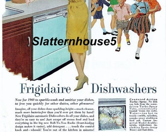 1960 Frigidaire Dishwasher Colored Ad Print MidCentury Housewife Kitchen Ad Print Home Decor Framable Personalized Invitations Craft Supply