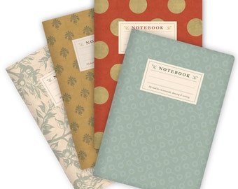 Set of 4 Notebooks Stapled A5 Patterns Tuquoise, Red, Branches