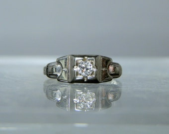 14k White Gold Diamond Art Deco Wedding Engagement Wedding Ring Size 4.5 Clean and Ready to Wear Fine Quality DanPickedMinerals