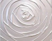 Pearl White Painting Rose Abstract Acrylic Sculptural Very Light Silver Platinum Rose Metallic 18x18 High Quality Original Fine Art