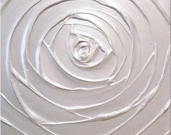 Painting Pearl White Rose Acrylic Sculpture Light Silver Platinum Metallic Flower 18x18 High Quality Original Modern Art