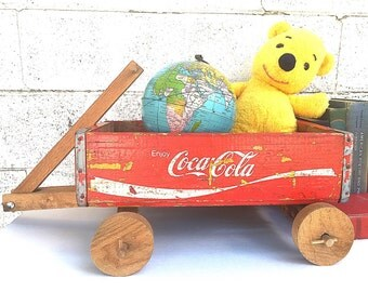 Coca-Cola CRATE WAGON | Vintage Wood Soda Crate Toy Wagon | Primitive Handmade Folk Art | Rustic Soda Pop Crate | Industrial Display/Storage