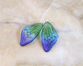 Blue and Green Translucent Butterfly Wing Resin Earrings