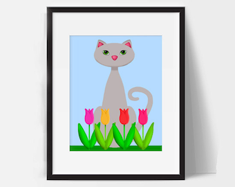 Gray Cat Spring Tulip Bedroom Bathroom Decor Wall Art Flowers Lover Grey Summer Feline Cartoon Party