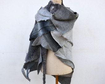 Boho Wool Felt Hand knited patchwork shawl warm grey, silver art to wear, unique OOAK, soft felted wool geometrical woman fashion 184