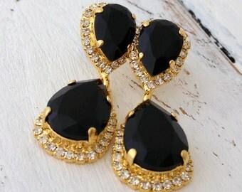 Black chandelier earrings,Black earrings,Black bridal earrings,black bridesmaid earrings,dangle earring,Black drop earring,Swarovski earring