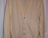 Vintage 1960s Men's Off White Cardigan Golf or Tennis Sweater by Jantzen Medium Only 12 USD