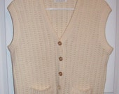 Vintage 1960s Ladies Off White Sweater Vest by Dotty Mann Large Only 6 USD