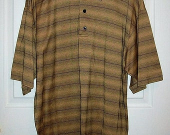 Vintage Mens Tan & Black Striped Polo Golf Shirt by Monterey Club Large Only 8 USD