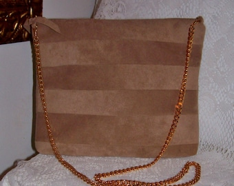 Vintage Ladies Tan Ultrasuede Shoulder Bag by Laurice Keyloun Only 5 USD