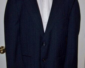 Vintage Men's Black Wool Pin Stripe Sport Coat Blazer by Palm Beach Size 44 S Only 10 USD