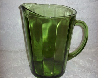 Vintage Green Paneled Optic Glass Water Pitcher Only 8 USD
