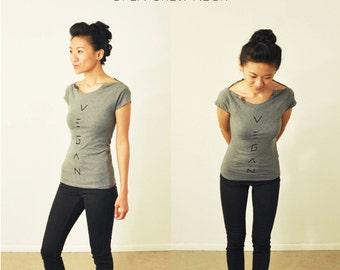 Vegan Shirt: Charcoal Grey Open-Crew-Neck