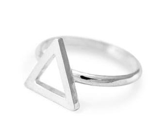Geometric Triangle, Sterling Silver Ring For Women, Jewelry Gift Idea for Her, RS020