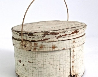 Antique Painted Firkin, 19thC Painted White Lidded Bucket, Old Painted Wooden Bucket, Scandinavian White Bucket