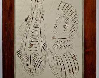 19thC Calligraphic Drawing Man & Fish, neutral fine art