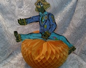 Vintage Jointed Scarecrow on Honeycomb Pumpkin Centerpiece