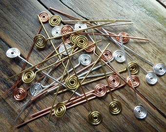 Spiral headpins, 15 pairs mixed colours, silver plated, brass and copper, swirl headpins, artisan made jewellery supplies, 15% off sale.