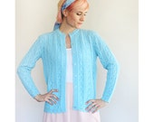 Vintage 1960s 1970s Light Blue Knit Long Sleeved Cardigan Sweater / Medium