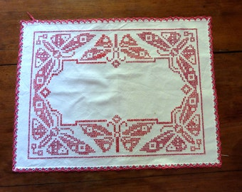 Antique French hand embroidered redwork doily w red embroidery w butterfly, country cottage table linens from France, christmas linens