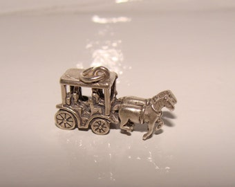 Sterling Silver Horse Drawn Carriage Charm, Vacation Charm, Memento of Tour