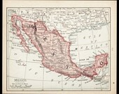Small Map of Mexico Map (Old Color Map, Antique Wall Decor Print, 1900s Wall Art) Nice Vintage Atlas Map No. 111-3
