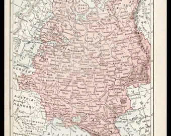Small Russia Map of Russia (Vintage Atlas Wall Art Print, 1900s Antique Wall Decor) Vintage Old Color Russian Map No. 155-3