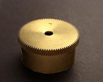 Large Brass Cylinder Gear, Mainspring Barrel from Vintage Clock Movement, Vintage Clockwork Mechanism Parts, Steampunk Art Supplies 03873