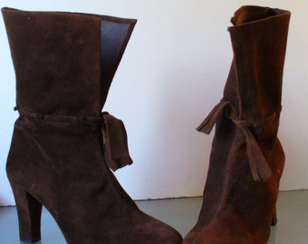 Vintage Chocolate Brown Suede  Made in Spain  Boots Size 7B