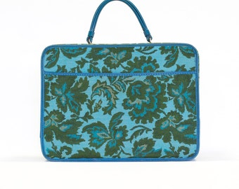 Vintage Luggage, Turquoise Blue / Floral Paisley MidCentury Suitcase