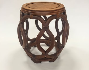 Garden Barrel Stool or Side Table, Asian Chinosiere, Rosewood / Huali
