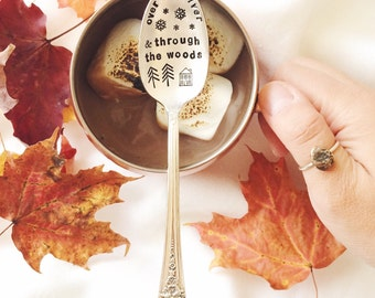 Over the river and through the woods - holiday - stamped teaspoon - entertaining, hostess gift, gift for her, kitchen, cook