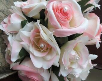 Pale Pink Pearl Bouquets with Burlap Wrap Wedding/Bride/Bridal/Bridesmaid