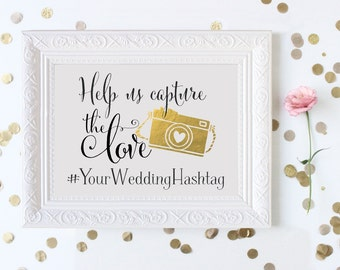 Help Us Capture the Love Instagram Wedding Sign   Personalized Wedding Hashtag PRINTABLE   Instant Download
