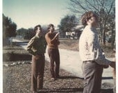 """Vintage Snapshot - """"Up in the Air"""" - Kite Flying - Color Photo - 1960's Men Dressed in Polyester Pants - Found Vernacular Photo"""