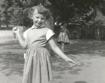 Me and My Shadow - Vintage Photo - Cute Little Girl Posing for the Camera - Snapshot - Annoyed Kid in the Background - Found Photo